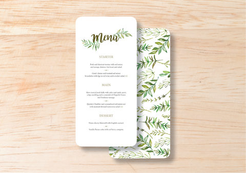 Leafy Menu - BlushWeddingsUK - 1