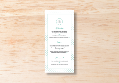 Polka Menu - BlushWeddingsUK