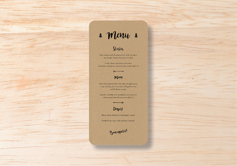 Rustic Menu - BlushWeddingsUK
