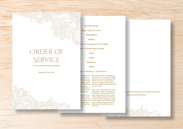 Lace Order Of Service - BlushWeddingsUK - 1