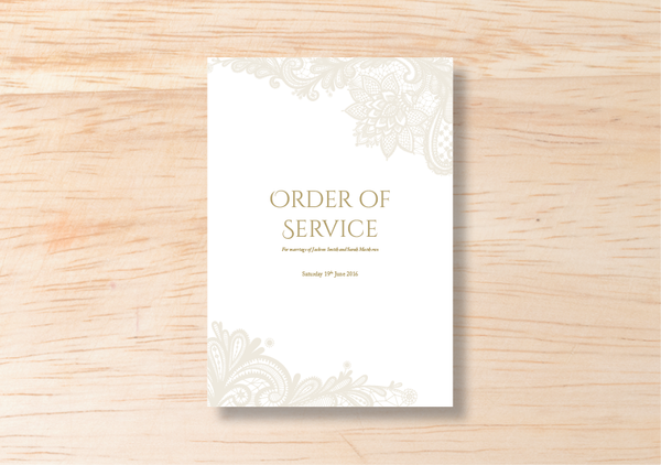 Lace Order Of Service - BlushWeddingsUK - 2