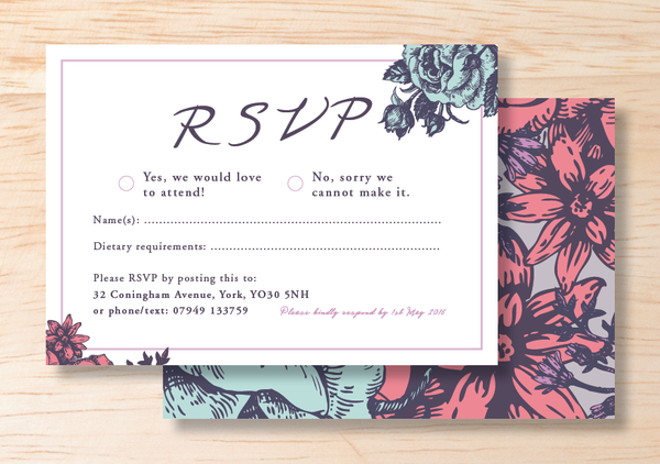 Floral RSVP Card - BlushWeddingsUK - 1
