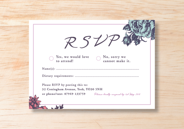 Floral RSVP Card - BlushWeddingsUK - 2