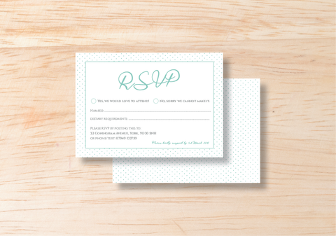 Polka RSVP Card - BlushWeddingsUK - 1