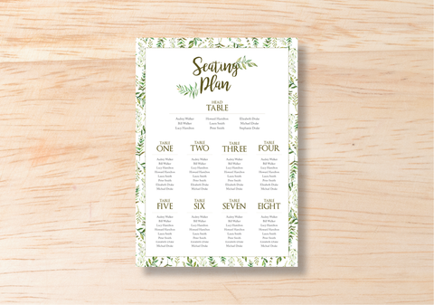 Leafy Seating Plan - BlushWeddingsUK