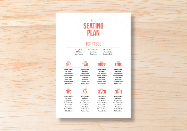 Confetti Seating Plan - BlushWeddingsUK