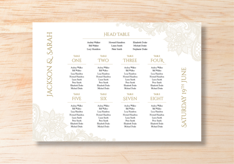 Lace Seating Plan - BlushWeddingsUK