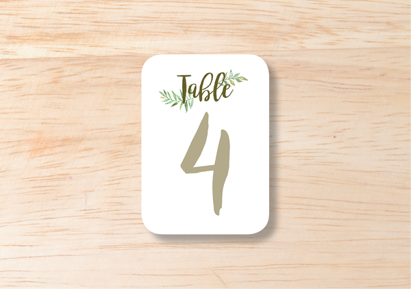 Leafy Table Number - BlushWeddingsUK