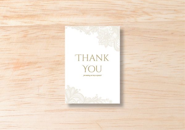Lace Thank You Card - BlushWeddingsUK