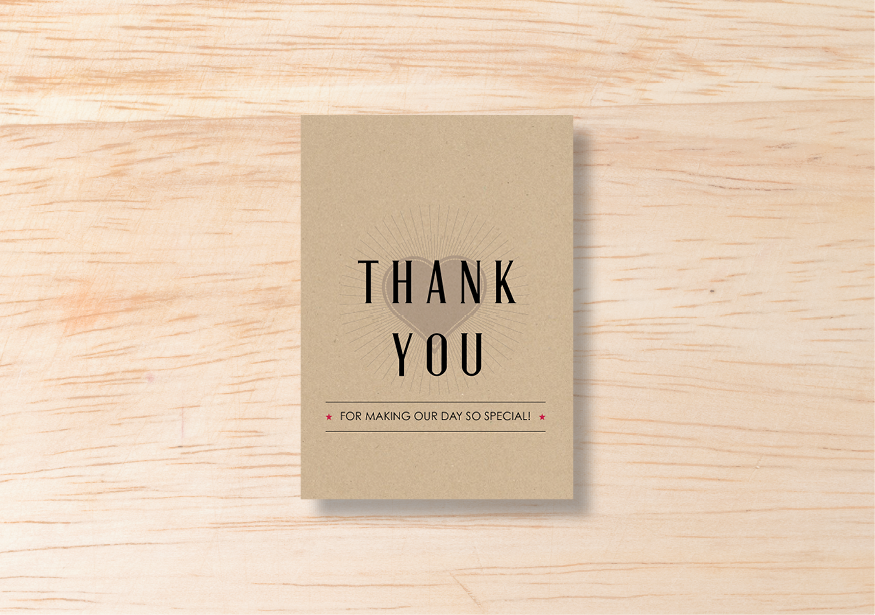 Retro Thank You Card - BlushWeddingsUK