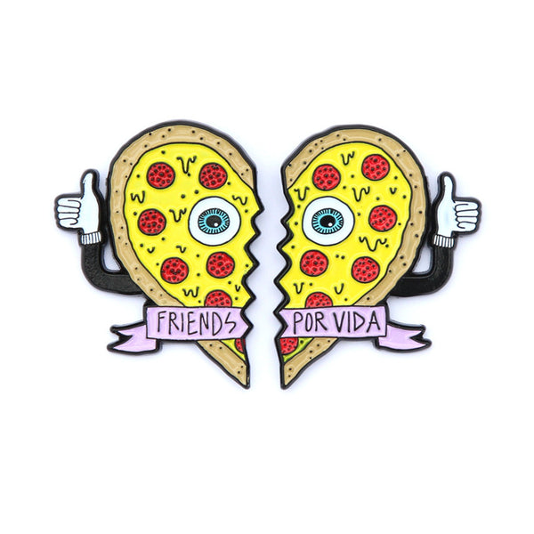 friends por vida pizza heart pin set