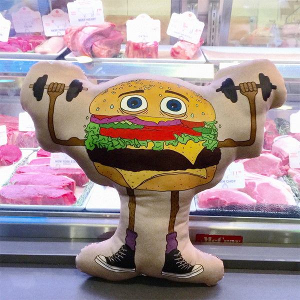 tough guy burger pillow
