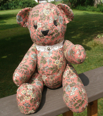 "Fabric Teddy Bear - ""Marianne""   ---  FAST and FREE Shipping"