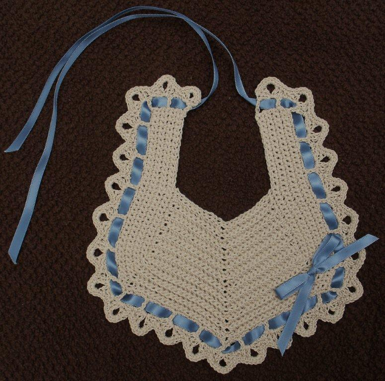 Baby Bib Ecru with Blue  FAST and FREE Shipping