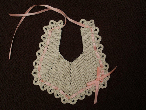 Baby Bib - Ecru with Peach  ---  FAST and FREE Shipping