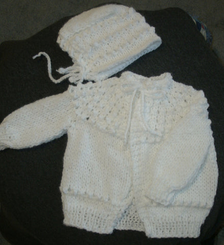 "Baby Sweater Set - ""Sweet Baby"" in White   ---  FAST and FREE Shipping"