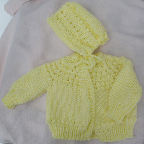 "Baby Sweater Set - ""Sweet Baby"" in Light Yellow   ---  FAST and FREE Shipping"