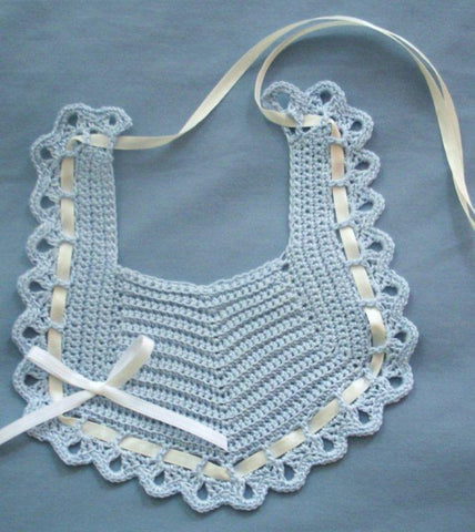 Baby Bib - Blue with Ivory  ---  FAST and FREE Shipping