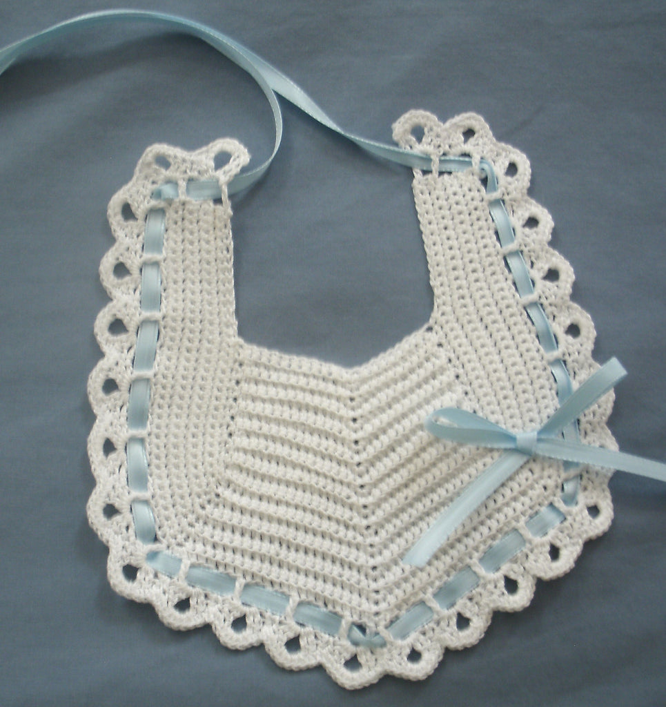 Baby Bib White with Blue   FAST and FREE Shipping