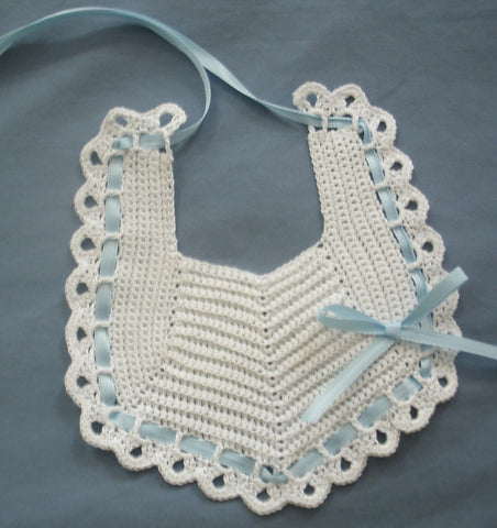 Baby Bib - White with Blue