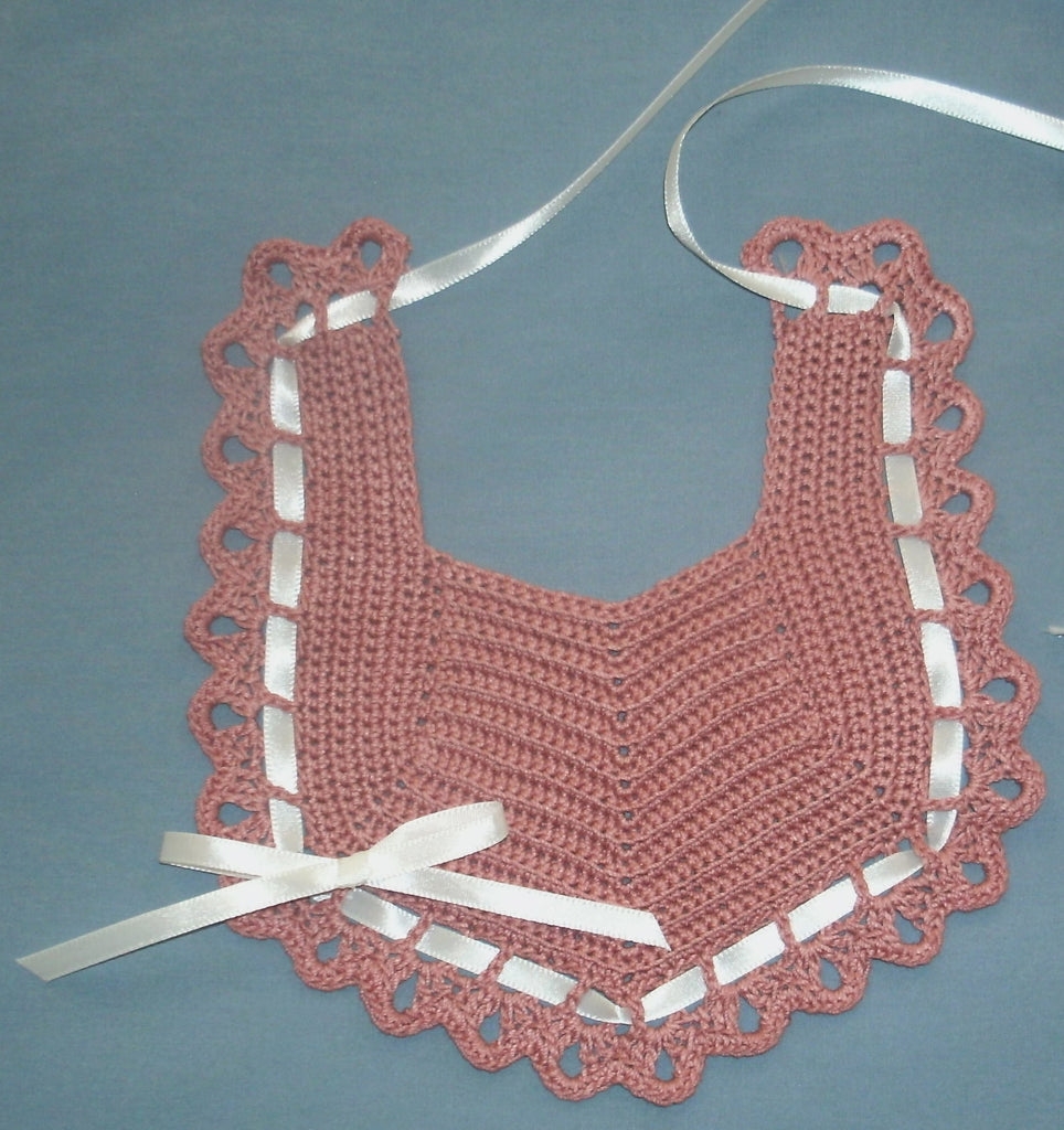 Baby Bib Rose with Ivory   FAST and FREE Shipping