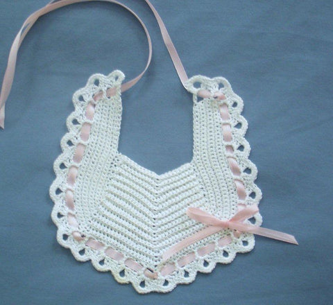 Baby Bib - White with Pink  ---  FAST and FREE Shipping