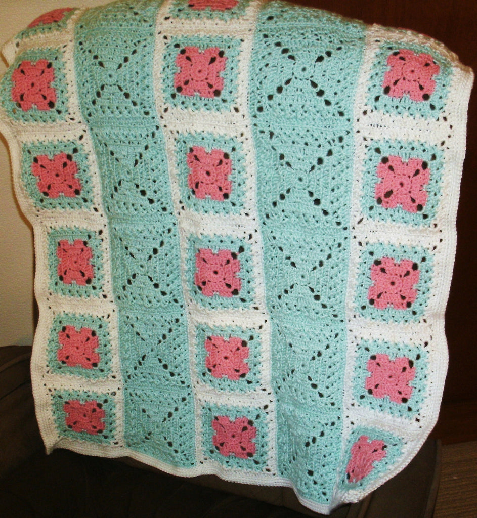 "Baby Blanket - ""Granny Squares"" in Green and Pink on White   ---  FAST and FREE Shipping"