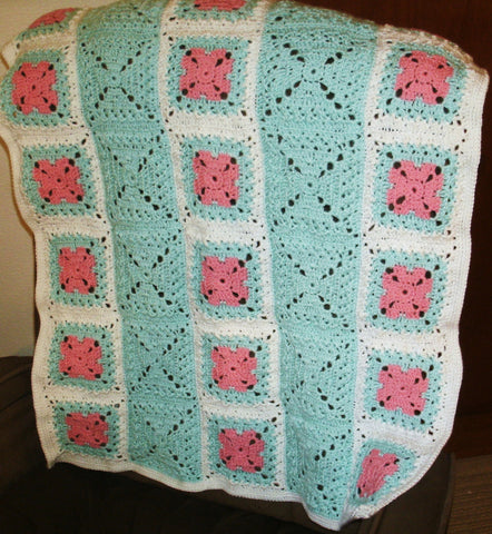 "Baby Blanket - ""Granny Squares"" in Green and Pink on White"