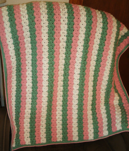 "Baby Blanket - ""Scallop Stitch"" in Pink, Green and White   ---  FAST and FREE Shipping"