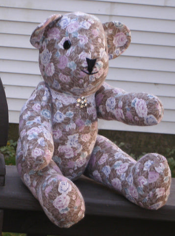 "Fabric Teddy Bear - ""Anne""   ---  FAST and FREE Shipping"