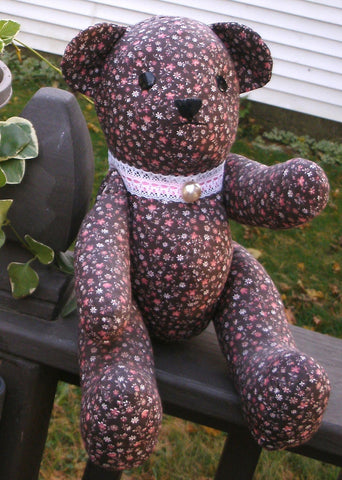 "Fabric Teddy Bear - ""Megan""   ---  FAST and FREE Shipping"
