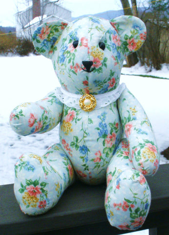 "Fabric Teddy Bear ""Mandy"" --- FAST and FREE Shipping"