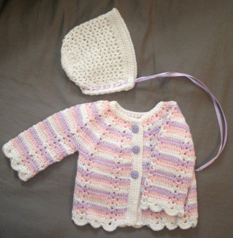 "Baby Sweater Set - ""Scallop Edge"" --- FAST and FREE Shipping"
