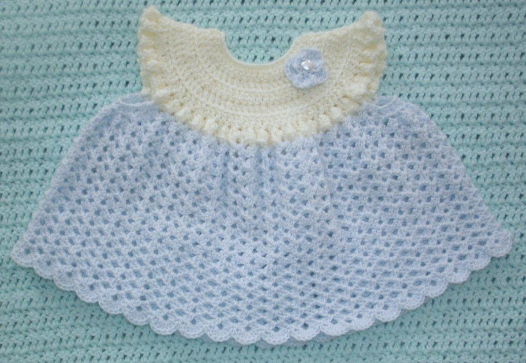 Baby Dress in Blue and Cream --- Fast and Free Shipping