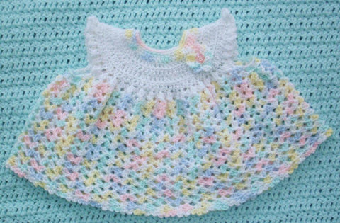 Baby Dress in Pastel Variegated --- Fast and Free Shipping
