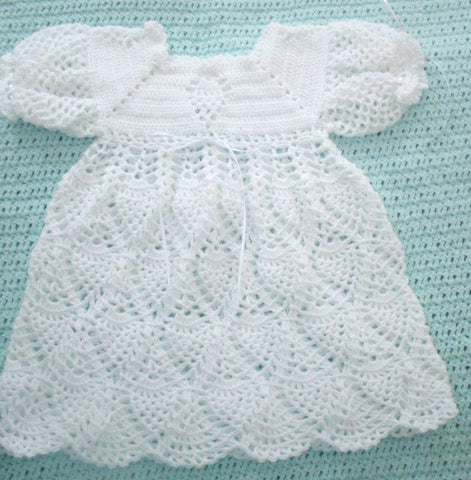 Handmade Baby Dress in White Pineapples     Fast and Free Shipping