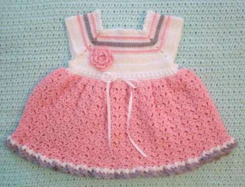 Baby Dress in Pink and White with Gray Accents --- Fast and Free Shipping