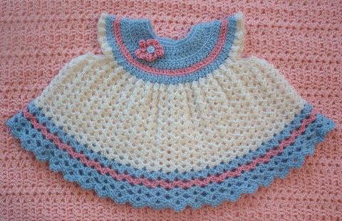 Baby Dress in White with Blue and Rose --- Fast and Free Shipping