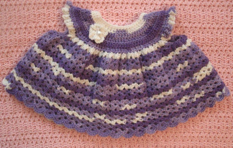 Baby Dress in Variegated Lilac --- Fast and Free Shipping