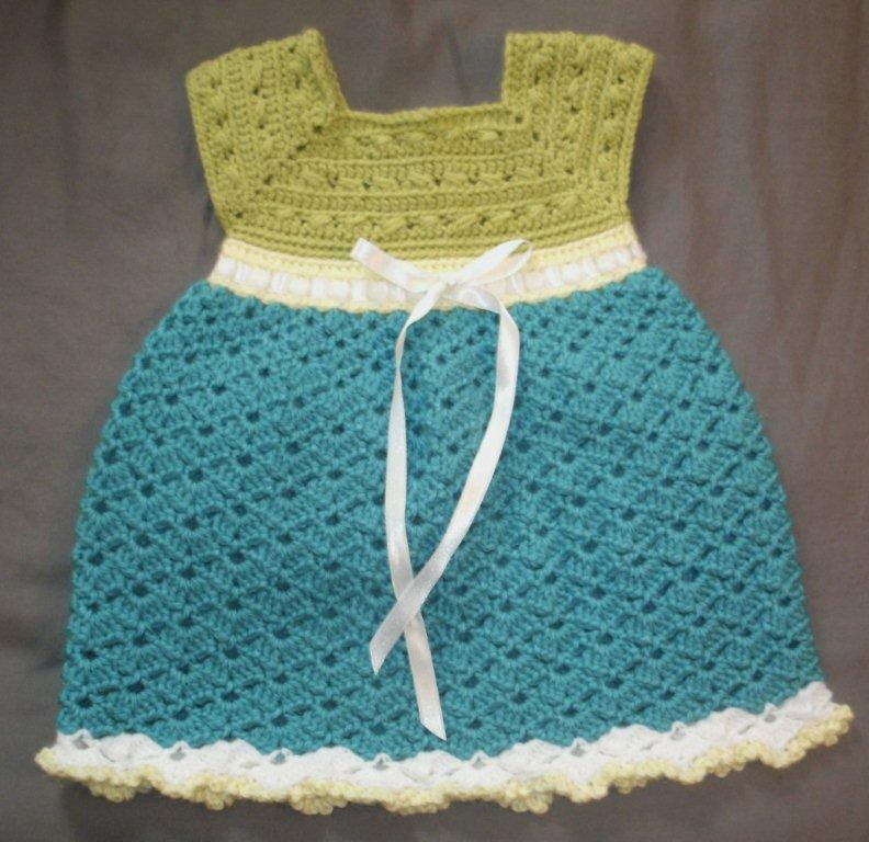Baby Dress in Sage, Teal with White and Yellow Trim --- Fast and Free Shipping