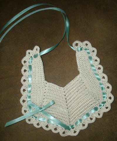 Baby Bib Ecru with County Green --- FAST and FREE Shipping