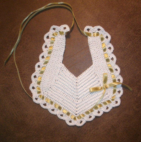 Baby Bib White with Gold - FAST and FREE Shipping $19.95