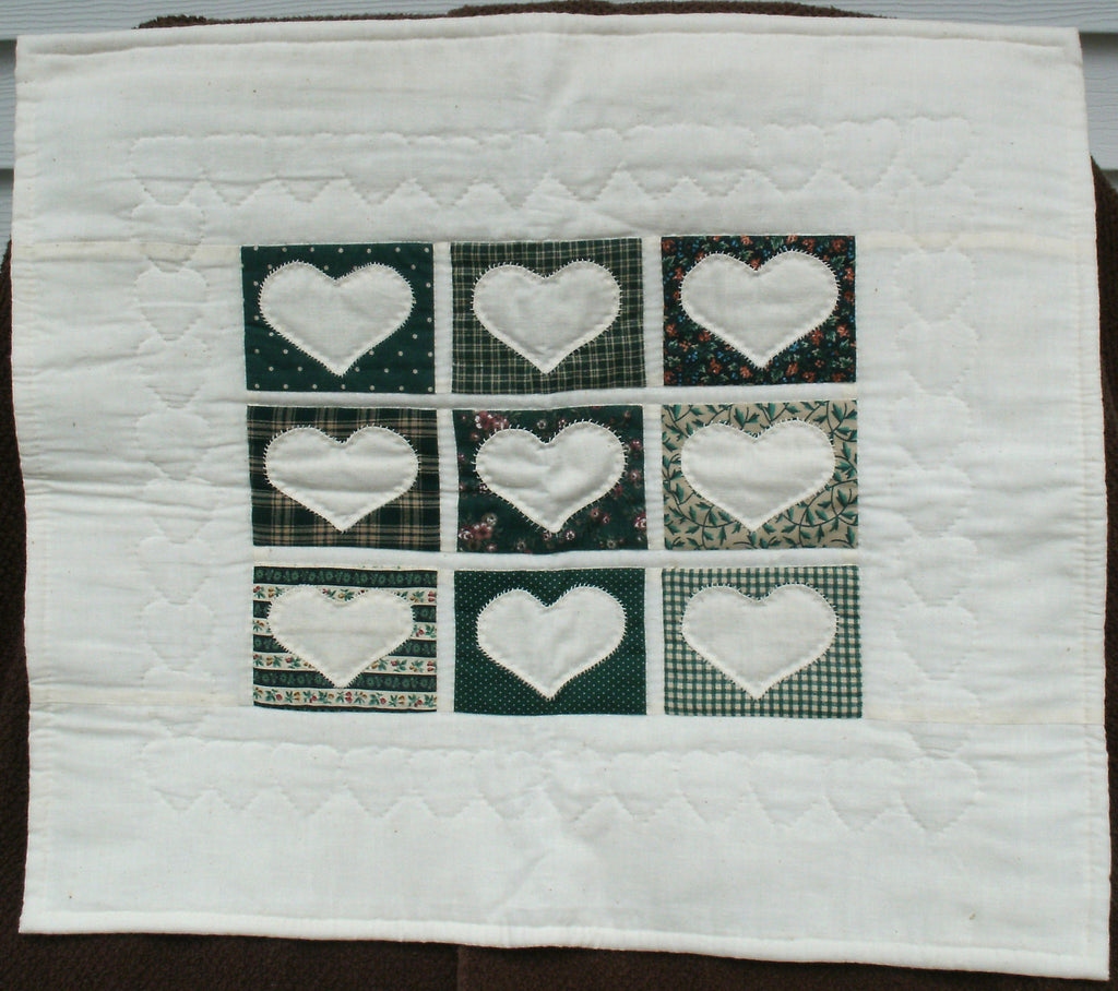 "Quilted Wall Hanging/Table Topper - ""Hearts in Green""   ---  FAST and FREE Shipping"