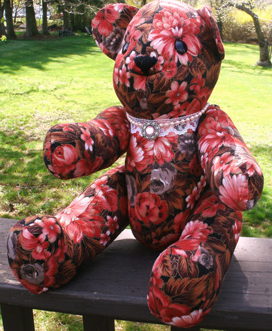 "Fabric Teddy Bear - ""Jodie""   ---  FAST and FREE Shipping"