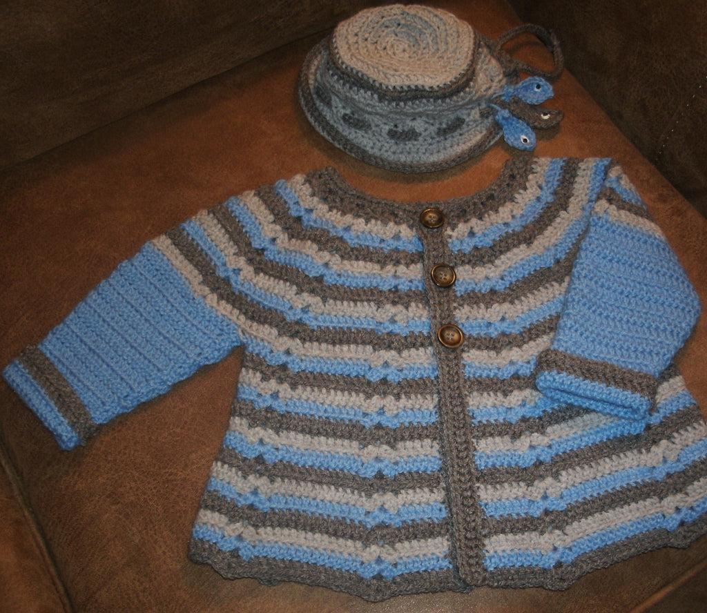 "Baby Sweater Set - ""Gone Fishin""   ---  FAST and FREE Shipping"