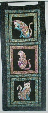 "Quilted Wall Hanging - ""Colorful Cats""   ---  FAST and FREE Shipping"