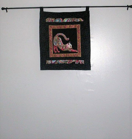 "Quilted Wall Hanging - ""Colorful Cat""   ---  FAST and FREE Shipping"