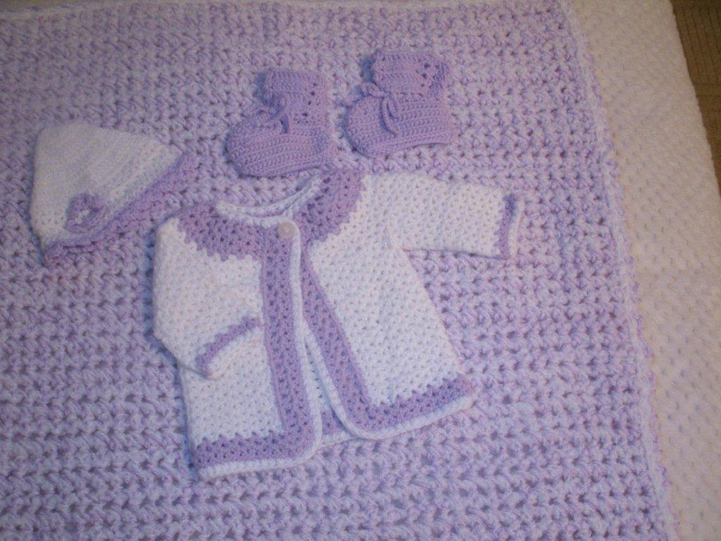 Baby Blanket AND Matching Sweater Set   ---  FAST and FREE Shipping