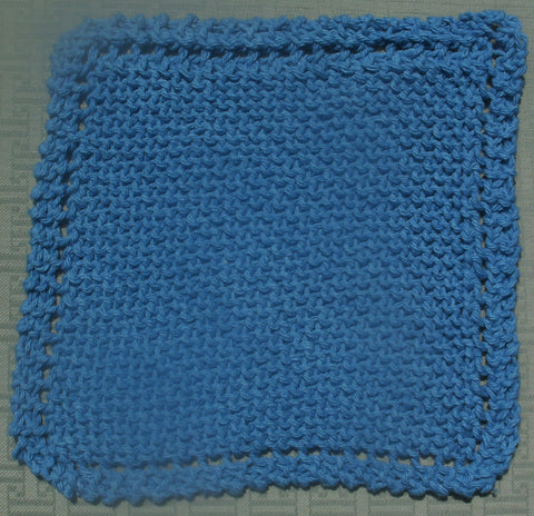 Dishcloths - Hand Knit Cotton in Medium Blue   ---  FAST and FREE Shipping