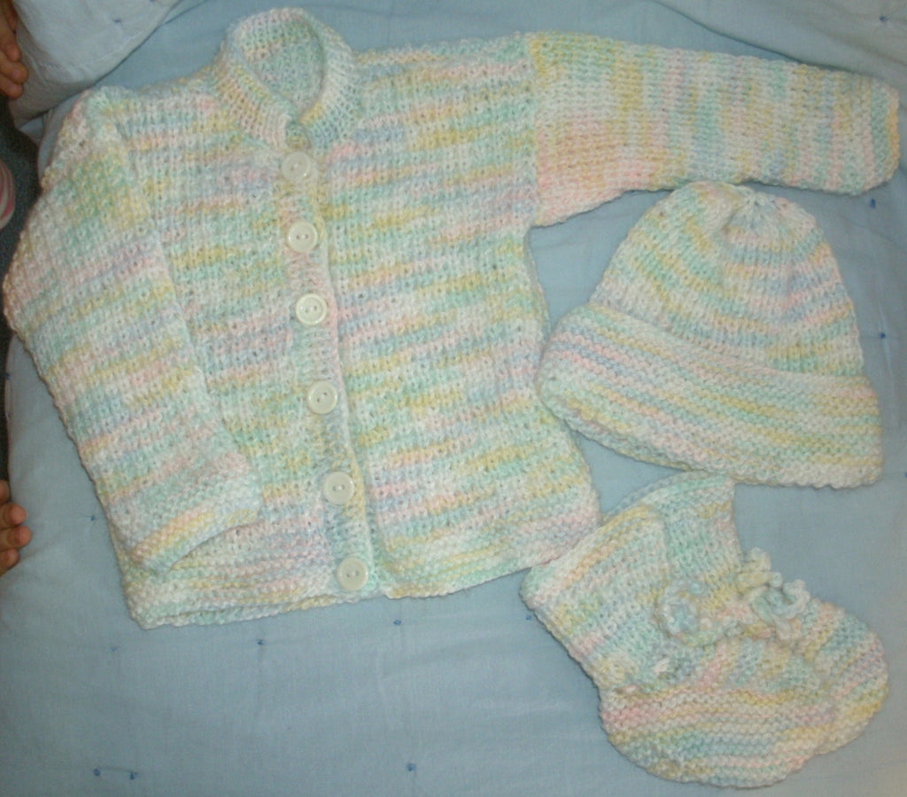 "Baby Sweater Set - ""Precious in Pastel"""